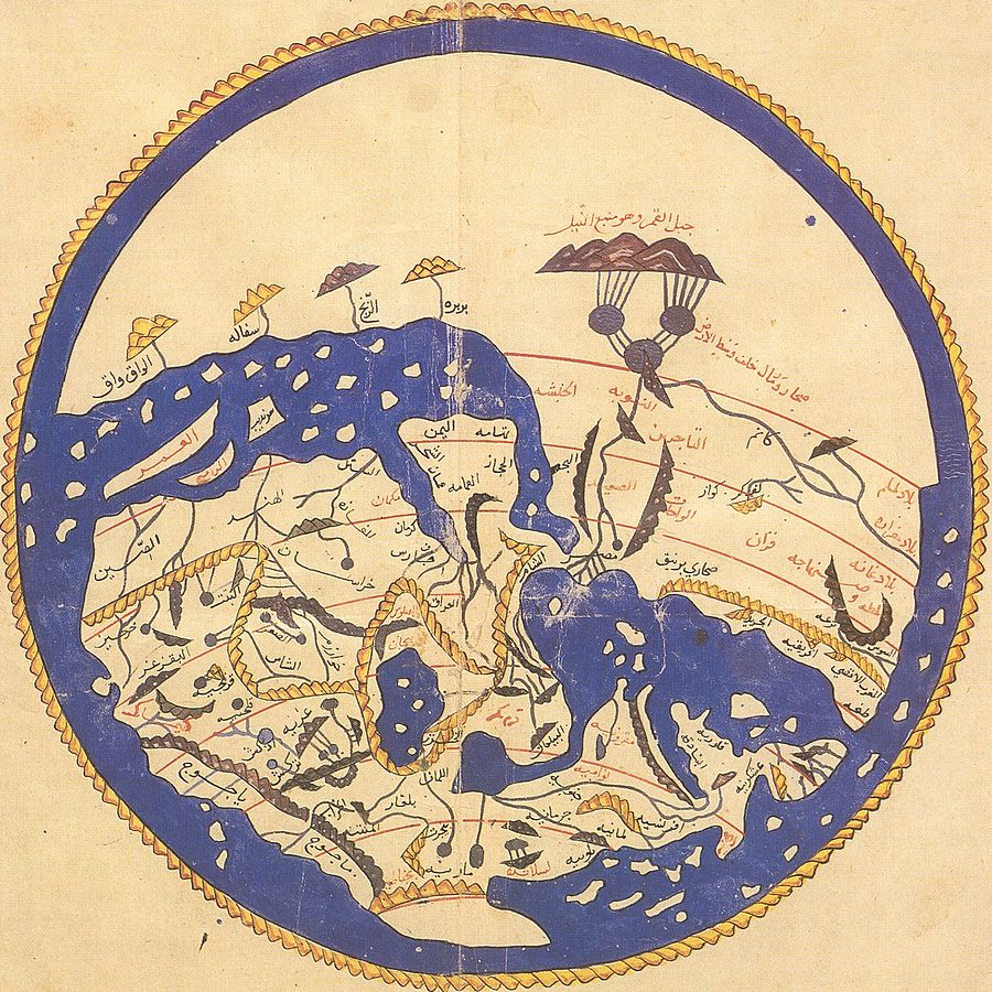 World map by Moroccan cartographer al-Idrisi for King Roger of Sicily, 1154 (south is at the top)