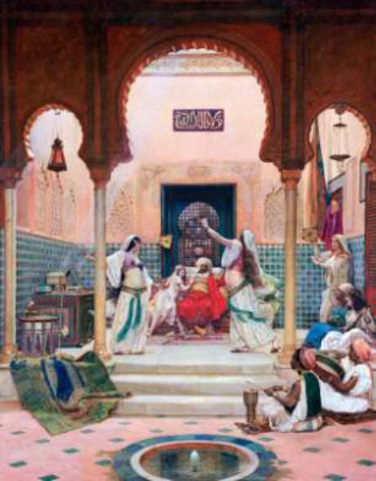 Women slave singers (qiyān) and musicians entertaining a caliph or other princely personage in Baghdad. (Image used on the front cover of Caswell 2011; no source details for it are given there.) Source: https://si.wsj.net/public/resources/images/BNGM140_ C3_FR_20150116100019.jpg